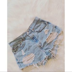 Levi's Ripped High-Rise Shorts